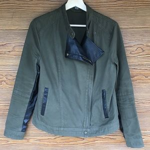 Marc NY Green Military Jacket with Faux Leather M